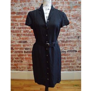 Ann Taylor Black Linen Button Up Dress 6